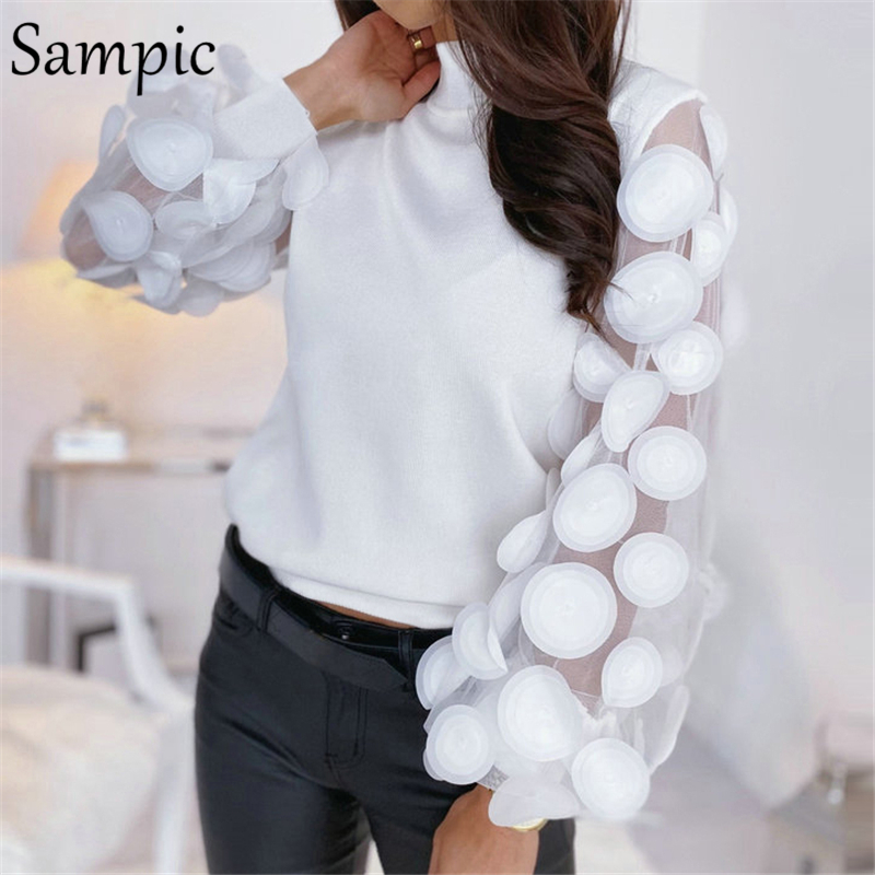 Sampic Mesh Patchwork Black White Vintage Puff Long Sleeve Blouse Shirts Women Casual Turtleneck Elegant Blouse Tops Fashion