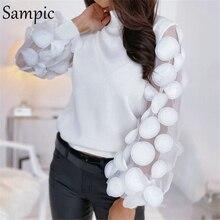 Sampic Mesh Patchwork Black White Vintage Puff Long Sleeve Blouse Shirt