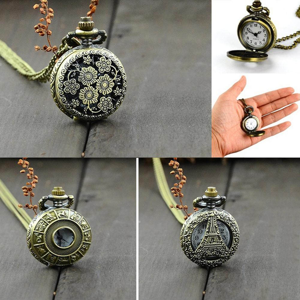 Retro Vintage Steampunk Quartz Necklace Carving Pendant Chain Clock Pocket Watch