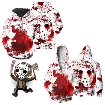 Piątek 13 Cosplay Jason Voorhees męskie raglanowe bluzy Freddy Horror twarz kreatywne męskie białe swetry Casual topy tanie i dobre opinie CN (pochodzenie) Film i TELEWIZJA Unisex Dla osób dorosłych tops POLIESTER kostiumy