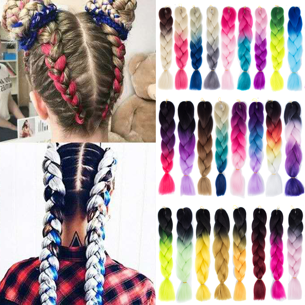 Kanekalon Jumbo Braid Extension Hair Xpression Braiding Hair Ombre Synthetic Pink Purple Blue Rainbow Colors Crochet Braids