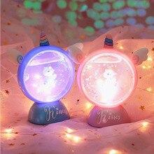 Светодиодный мультфильм украшения ночной светильник свет единорога детская комната лампы дисплея для мальчиков и девочек милые подарки