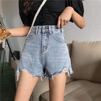 sharezz Denim Shorts Women's  Women Short Jeans Wide Leg Elastic Waist Vintage High Waist Shorts Women Summer цена 2017