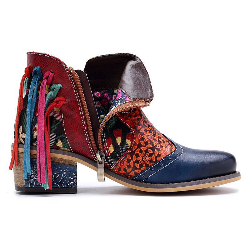 SONDR бахрома ботильоны для женщин из натуральной кожи в этническом стиле ретро модная обувь на квадратном каблуке женские ботиночки на платформе; большие размеры; botas
