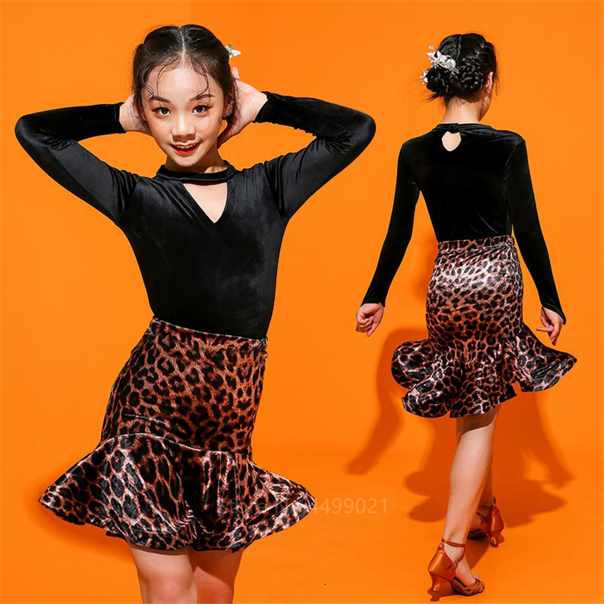 110-180Latin Dance Dress Kids Adult Salsa/Ballroom/Tango/Cha Baby Girl Leopard Vestidos Solid Women Full  Prefessional Costume
