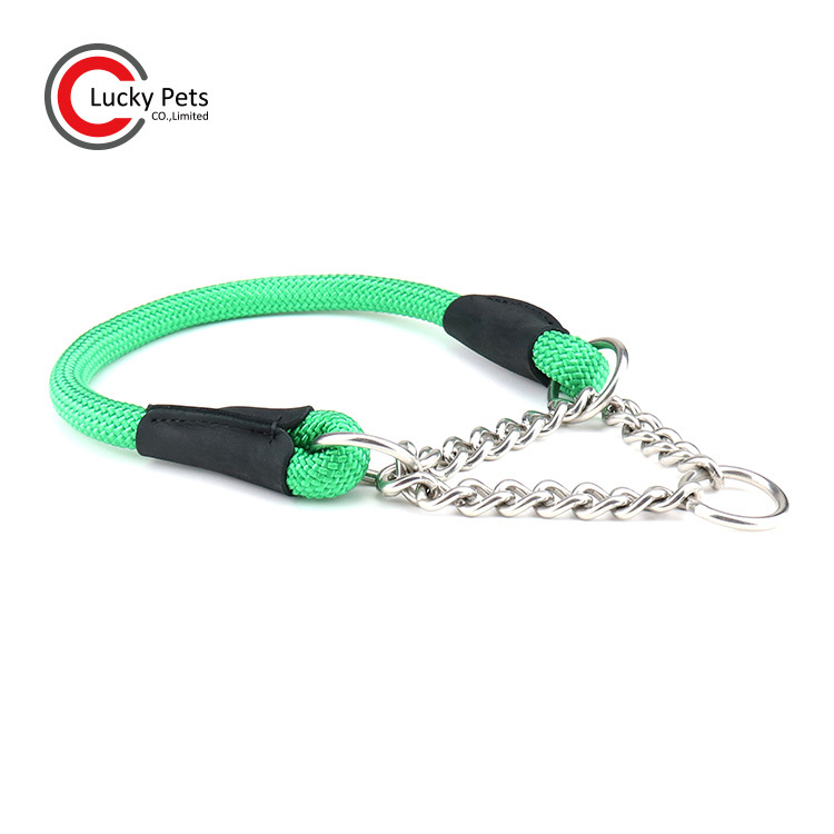 Pet Supplies Anti-Bite Iron Chain Round Rope Pet Collar Braided Rope Dog Neck Ring Buffer