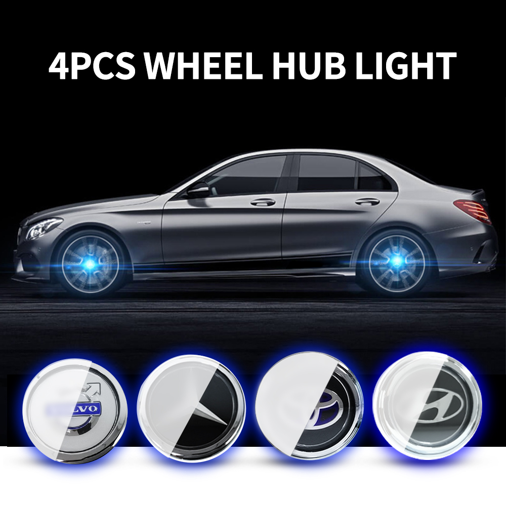 4X Hub Light Car Wheel Caps Light Center Cover Lighting Cap Floating Illumination LED Bulb Auto Car Styling For Bmw Benz Hyundai