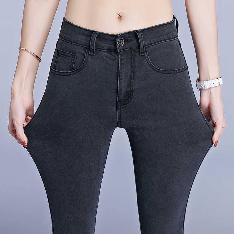 Джинсы для женщин, джинсы для мам, синие, серые, черные женские высокие эластичные большого размера 40 растягивающиеся женские джинсы, потертые джинсовые узкие брюки