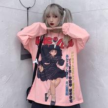 Harajuku Tshirt Streetwear Japan Anime t shirt Females Cute Cartoon Print Tshirt Streetwear Funny Casual Pink Oversized T Shirts