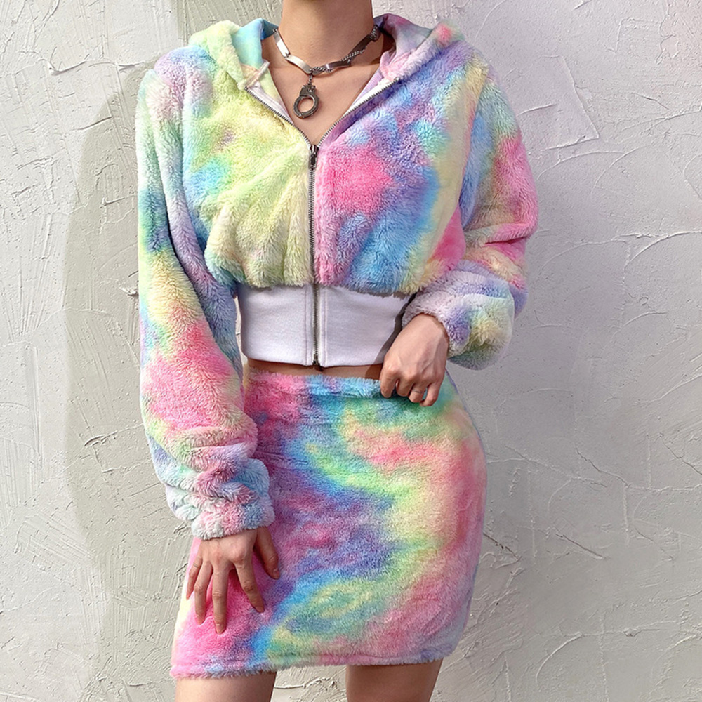 Two Piece Sets Women Korean Autumn Hooded Rainbow Teddy Cozy Furry Short Coat And Mini Skirt Causal Suit Harajuku Streetwear