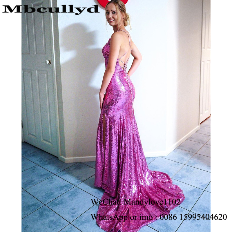Mbcullyd Mermaid Evening Dresses For Black Girls 2020 Purple Sequined African Prom Party Gowns Cheap Vestidos De Fiesta De Noche