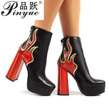 Ablaze Black Flame Platform Block Heeled Ankle Boots Sexy Hi