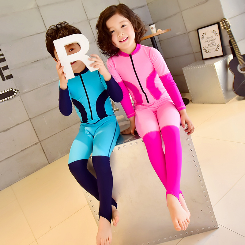 Meiyier Zipper Diving Suit Bathing Suit Men And Women Full Body One-piece Sun-resistant Long Sleeve Trousers Hot Springs CHILDRE