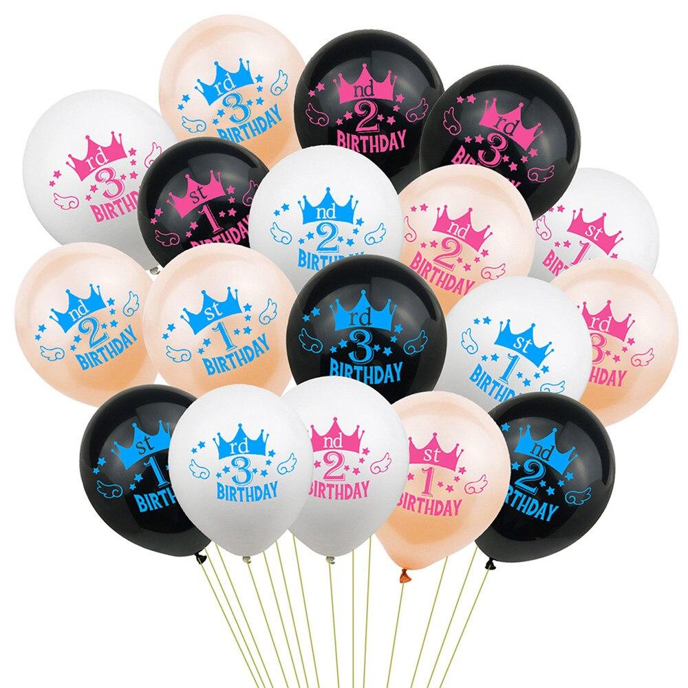 10 Stks/partij Gelukkige Verjaardag Ballonnen Nummer 1st 2 3 Jaar Kid Jongen Meisje Verjaardagsfeestje Decoraties Roze Blauw Ballonnen