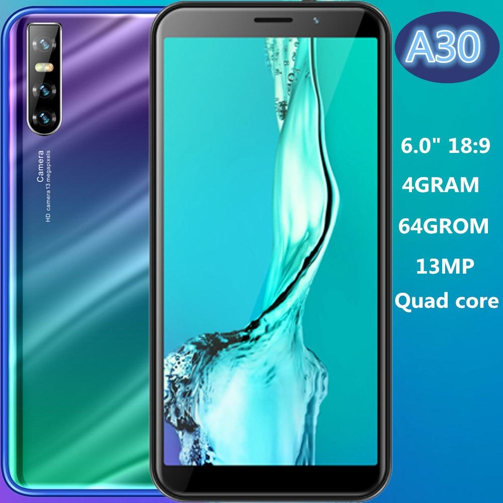 A30 глобальная версия смартфонов, 4 Гб ОЗУ 64 Гб ПЗУ, 13-мегапиксельная четырехъядерная 6-дюймовая IPS идентификация лица, разблокированные мобил...