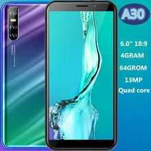 Smartphone a30 versão global 4 gb + 64 gb, celular com núcleo quad core de 13mp, tela de 6.0 polegadas, ips, identificação facial, desbloqueado, android celulares baratas