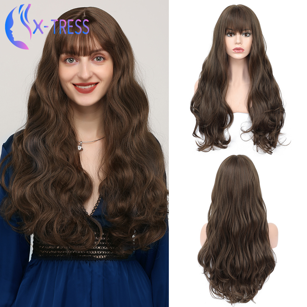 Long Dark Brown Synthetic Wigs For Women 24 Inch Romantic Loose Wave X-TRESS Wig Heat Resistant Fiber Cosplay Wig