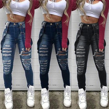 Fashion Women Ladies Baggy Denim Jeans Bib Full Length Pinafore Dungaree Overall Solid Loose Causal Jumpsuit Pants