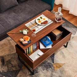 Lift Top Coffee Table Dining Table Display with Hidden Storage Compartment & Storage Space and Lift Tabletop Walnut