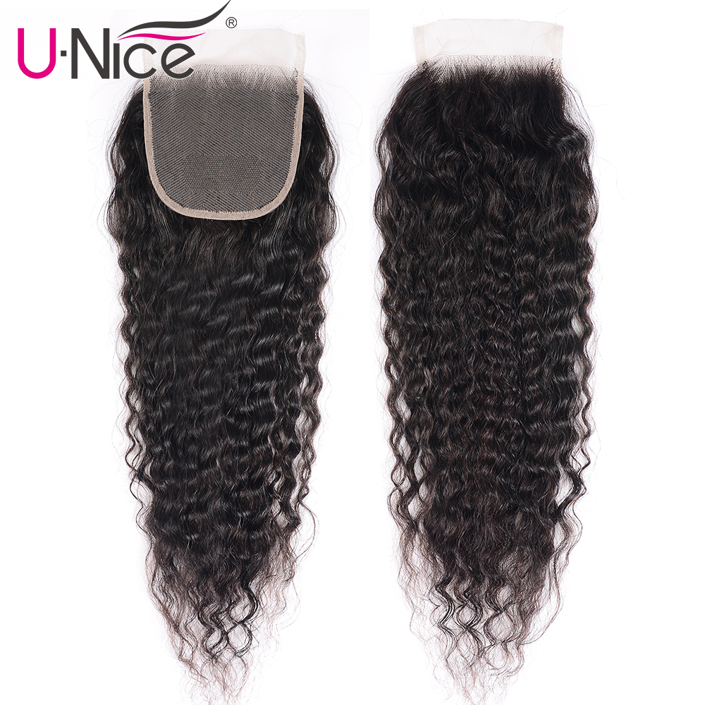 UNice Hair Brazilian Super Wave 4x4 Closure Swiss Lace Free Part Remy Human Hair Lace Closure 1 Piece 10