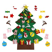 DIY Felt Christmas Tree Set Kit With 30pcs Removable Ornaments Xmas New Year Toys Decorations For Kids Adults Crafts