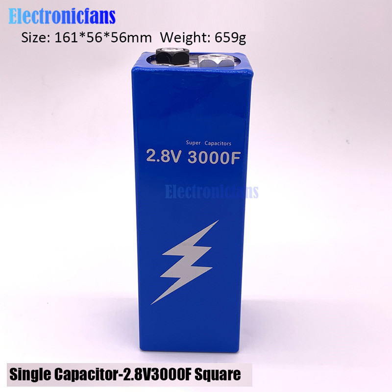 Image 2 - 2.8V 3000F Super Farad Capacitor Low ESR High Frequency Super Capacitor 2.8V3000F for Car 161*56*56mm with protection board-in Capacitors from Electronic Components & Supplies