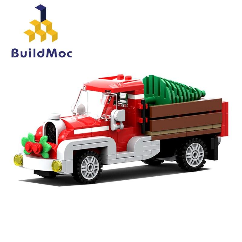 Buildmoc Christmas Lepining Winter Village Scene Holiday City Old Truck Reindeer Friends Building Blocks Santa Claus Toys gift 1