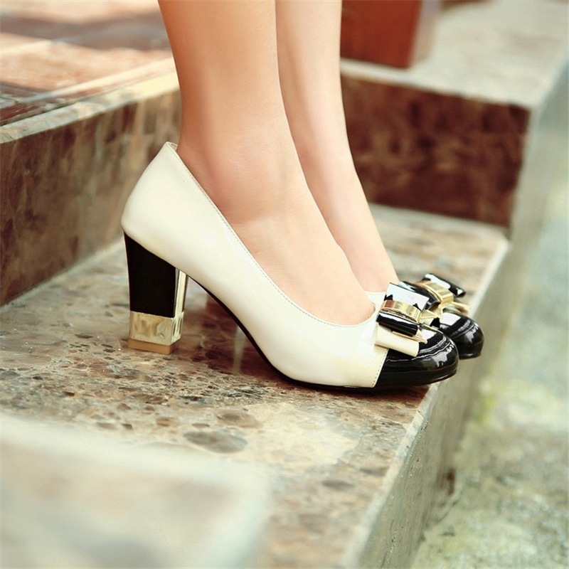 Delicate Bow Lovely Fashion Spring New Retro Thick With High-Heeled Shoes Spell Color Round Low Women Shoes(China)