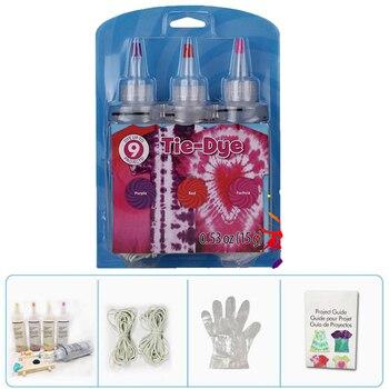 3 uds DIY colorido tela vibrante textil pintura colores un paso Tie Dye Kit fucsia y rojo y púrpura