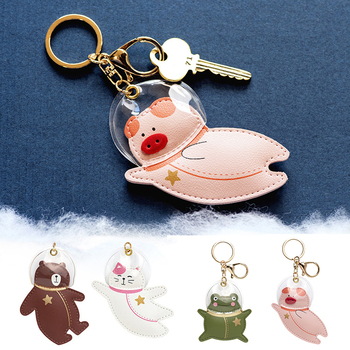 Creative Cartoon Keychains Unisex Cute Bear Cat Frog Pig Astronaut Shaped Key Ring Girls Fashion Leather Bag Pendant Key Chain image