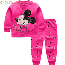 Baby Underwear-Set Pajamas-Set Long-Pants Girl Cartoon Cotton Home-Service Boy Children's