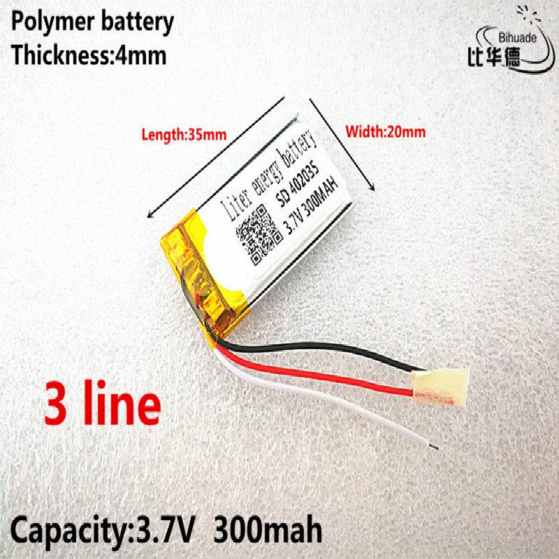3 line Good Qulity 3.7V,300mAH,402035 Polymer lithium ion / Li-ion battery for TOY,POWER BANK,GPS,mp3,mp4 image