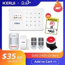 Keruiワイヤレスホームのgsmセキュリティ警報システムキットアプリ制御自動ダイヤルモーション検出器センサー盗難スマート警報システム