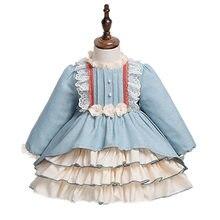 Crianças espanhol vestido de princesa das crianças vestido menina outono inverno 2021 manga longa vestido de princesa lolita bebê vestido de aniversário c