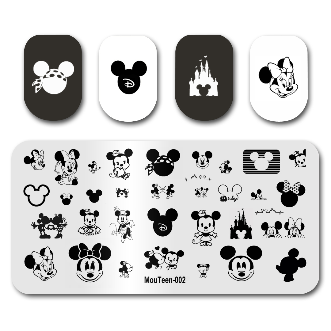 Nail Art Stamping Template Image Plate MouTeen002 Cartoon Mouse Nail Stamping Plates Manicure Stencil Set For Nail Stamping