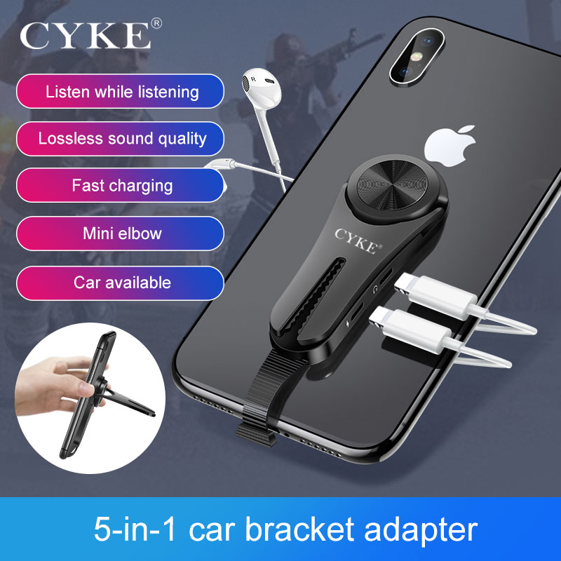 5 In 1 Adapter Multi-function Car Air Vent Holder Bracket Charging 3.5mm Jack Earphone Aux Cable Splitter Phone For Iphone