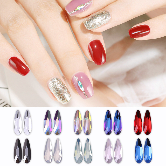 5 Pcs Waterdrop Shaped Nail Art Rhinestones