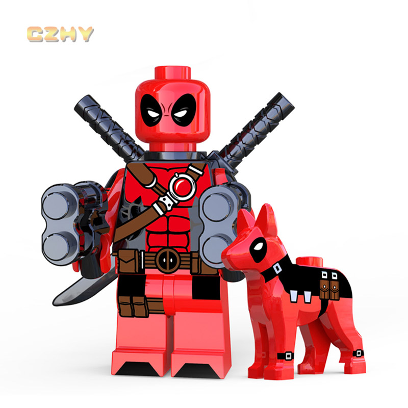 Red Deadpool with Dog LEGOEINGLYS MINIFIGURED DC Figures Building Blocks Super Heroes Bricks Chritmas Girls Gifts XP224