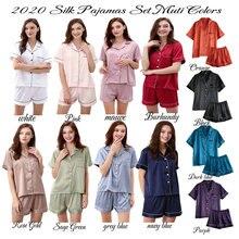 pajama set  Women silk Pajama Sets Silk Satin Pijama Turn-down Collar Sleepwear Lady Long Sleeve Spring Nightwear 2 Pieces