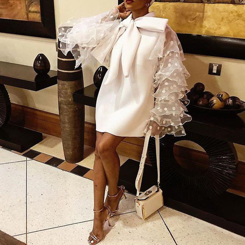 Plus grande taille élégante fête Orange blanc Mini robes Vintage femmes arc à pois maille à volants à manches longues robe courte dames - 2