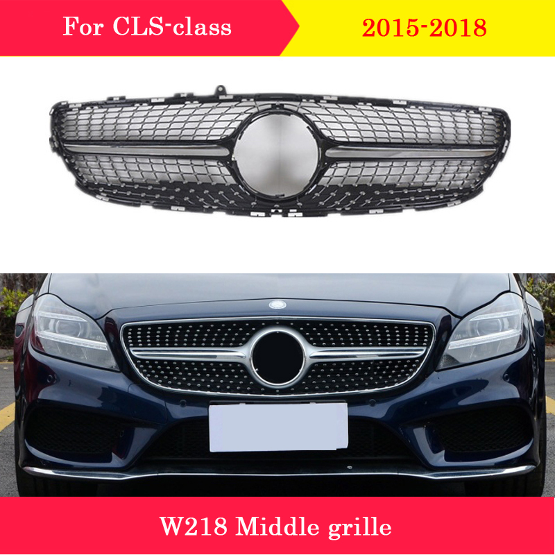 Front <font><b>grille</b></font> Diamond GT style CLS260 CLS300 CLS320 CLS350 CLS400 Car Middle <font><b>grille</b></font> for Mercedes-Benz CLS <font><b>W218</b></font> 2015-2018 image