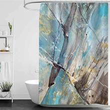 مجموعات ديكور الحمام مع دش الستائر لون Abstract فن تجريدي