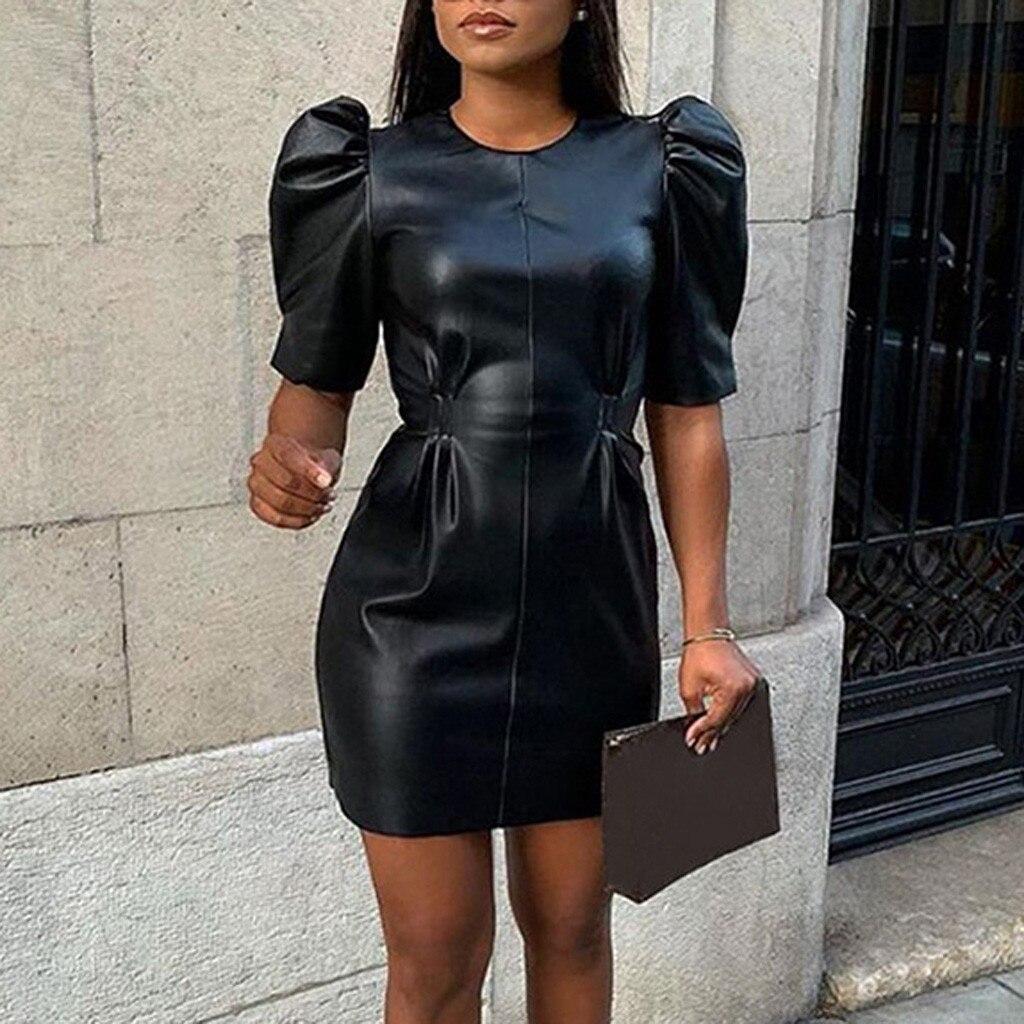 Faux Leather Dress Women Sexy Club Dresses Puff Sleeve Bodycon Party Dress Vintage Pleated Tunic Black Mini Dress Vestidos#J30