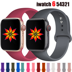 Silicone Strap for Apple Watch Band 44mm 42mm watchbands 40mm 38mm Rubber Sports Bracelet iWatch Series 6 5 4 3 2 1 42 mm strap