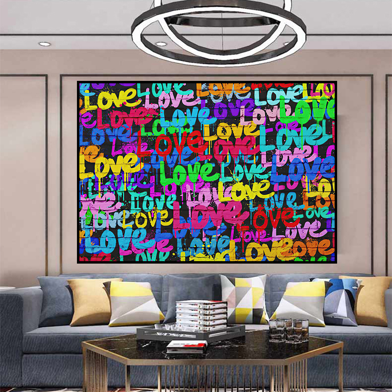Abstract Graffiti Art Colourful Loves Pictures Canvas Painting Wall Art Modern Posters and Prints in Living Room Home Decor