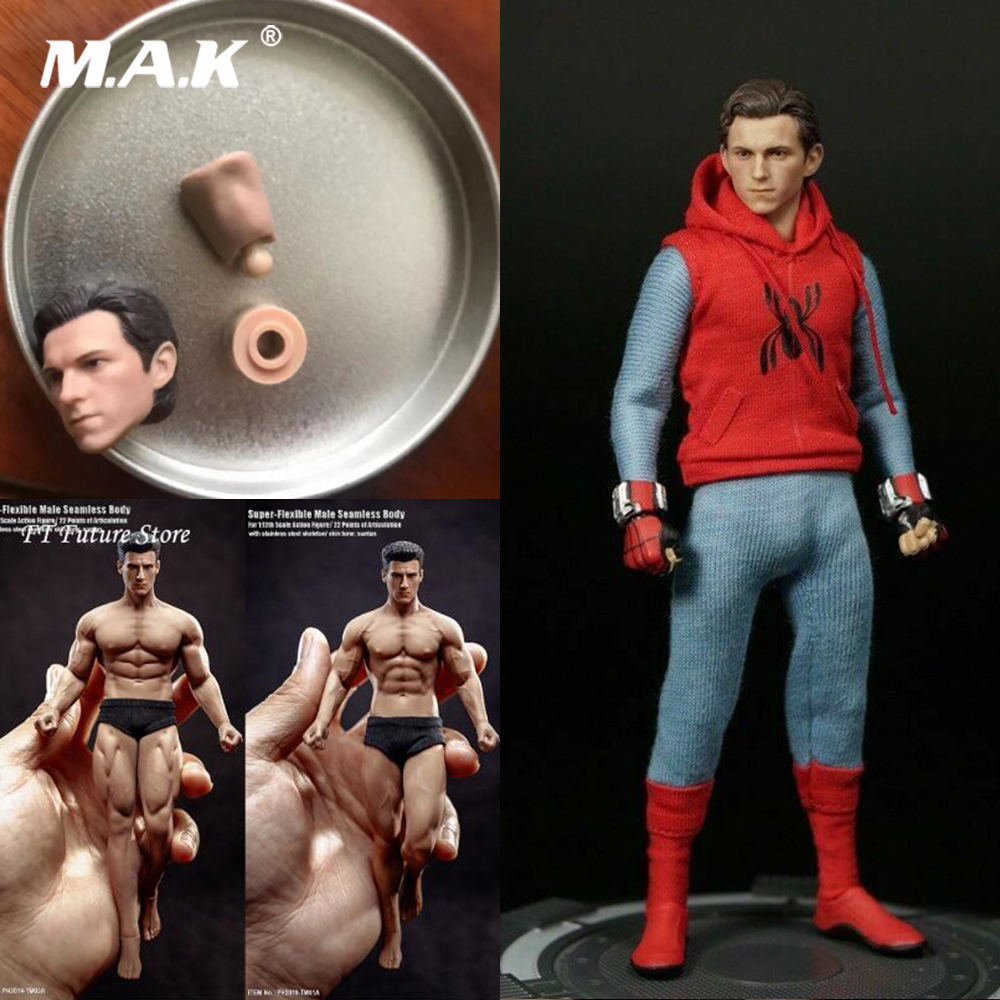 Collectible 1/12 Spiderman Holland Brother Peter Parker Head Sculpt Carved Accessory Model For 6inch Phicen Figure