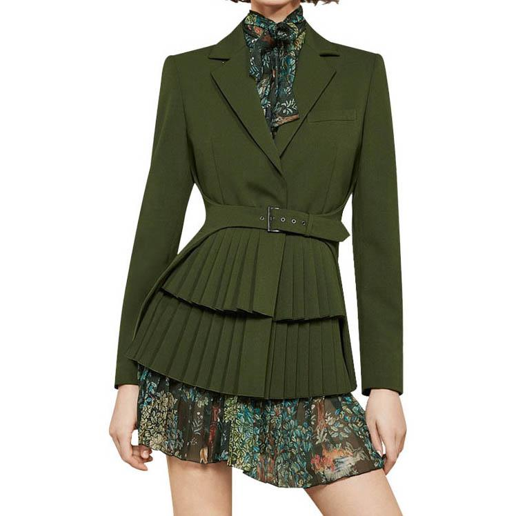 New Women Plus Size Dress Suits Green Blazer Flower Printing Dress Fashion Long Sleeve Slim Two-Pieces Sets