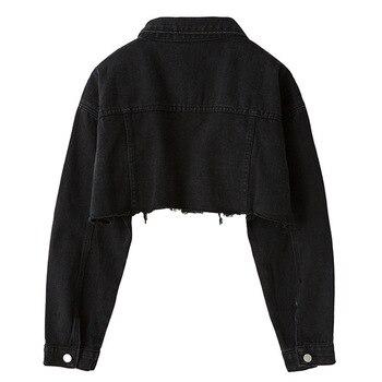 2019 Loose Skinny Jacket Short Holes Cowboy Loose Coat Woman 2
