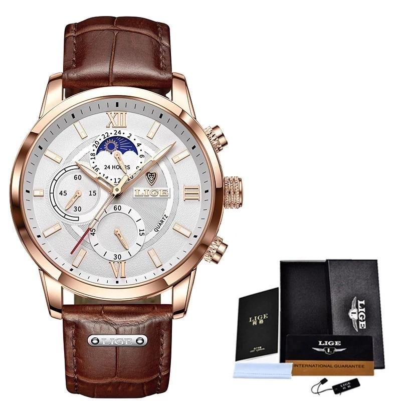 2021 LIGE Watches Mens Top Brand Luxury Clock Casual Leathe 24Hour Moon Phase Men Watch Sport Waterproof Quartz Chronograph+Box 6