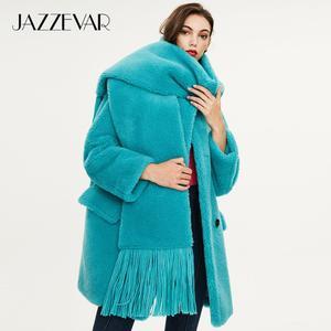 Image 5 - JAZZEVAR 2019 Зимнее новое поступление меховое пальто для женщин высокое качество средней длины модный теплое зимнее пальто